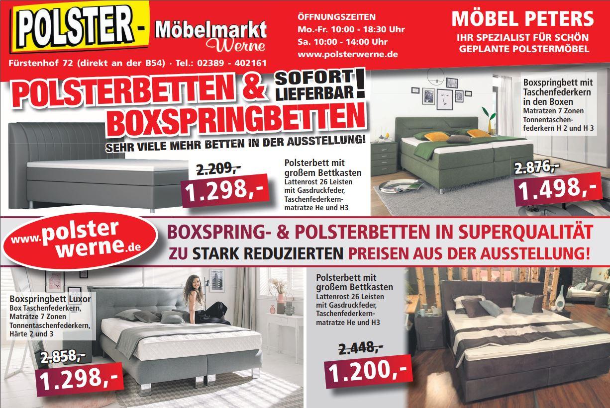 Boxspringbetten und Polsterbetten aus der Ausstellung in Superqualitätzu stark reduzierten Preisen!